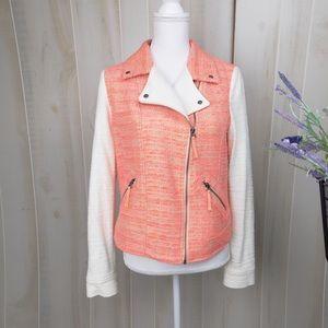 Elevenses Pink Tweed Moto Jacket